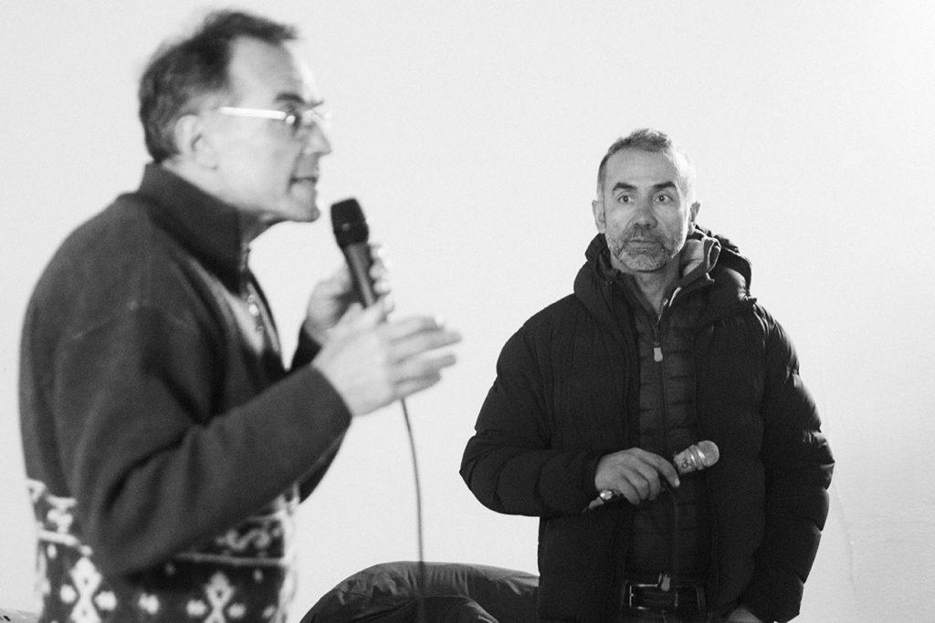 Marco Pastonesi e Sergio Barbero, ex ciclista professionista e compagno di squadra di Marco Pantani ai tempi della Mercatone Uno.