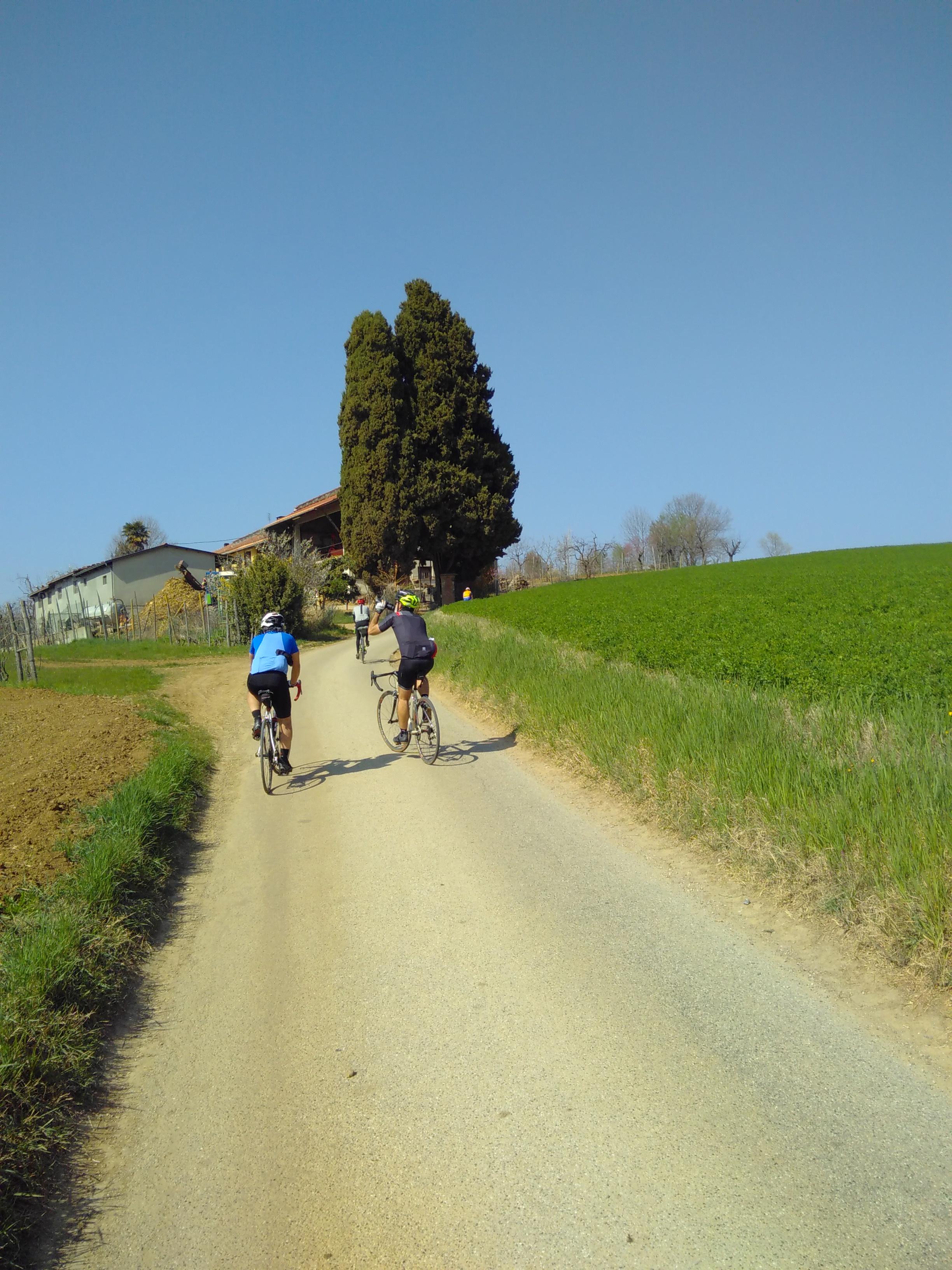 In salita su via Podio, che da Pecetto porta a Pino Torinese.